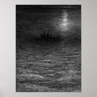 La nave abandonada en un mar iluminado por la luna impresiones
