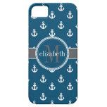 La nave azul del blanco gris ancla el monograma iPhone 5 Case-Mate cárcasa
