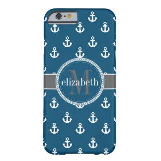 La nave azul del blanco gris ancla el monograma funda barely there iPhone 6