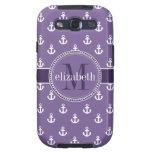 La nave blanca púrpura ancla el monograma galaxy SIII protectores