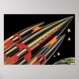 La nave de Rocket de la ciencia ficción del vintag Poster