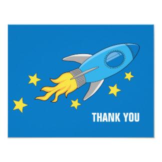 """La nave de Rocket retro le agradece cardar Invitación 4.25"""" X 5.5"""""""