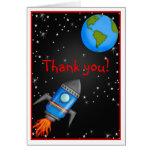 La nave del cohete del espacio exterior le agradec