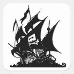 La nave del logotipo de la bahía del pirata colcomanias cuadradases