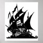 La nave del logotipo de la bahía del pirata póster