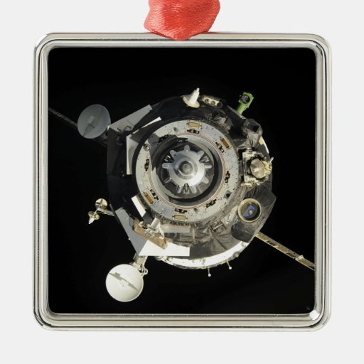 La nave espacial de Soyuz TMA-17 Adorno Navideño Cuadrado De Metal