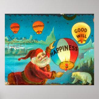 La Navidad Santa del vintage Póster