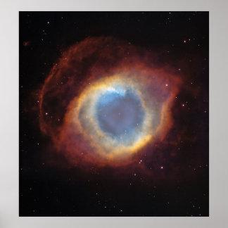 La nebulosa de la hélice un sobre gaseoso póster