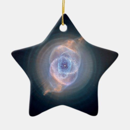 La nebulosa del ojo de gato adorno navideño de cerámica en forma de estrella