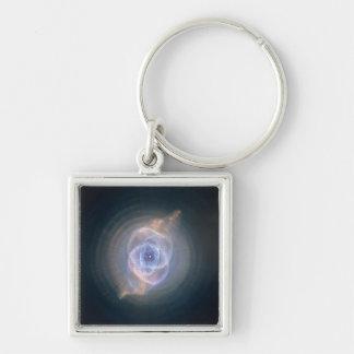 La nebulosa del ojo de gato llavero cuadrado plateado