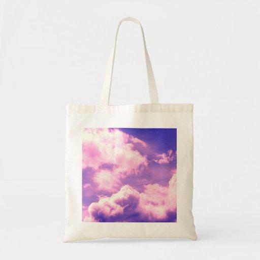 La nebulosa rosada abstracta se nubla el modelo bolsas lienzo