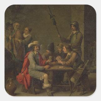 La negación de San Pedro, 1646 (aceite en lona) Pegatina Cuadrada