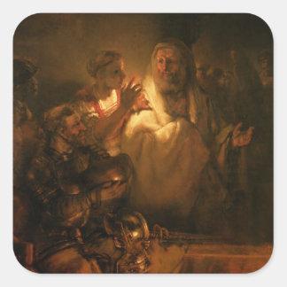 La negación de San Pedro, 1660 (aceite en lona) Pegatina Cuadrada