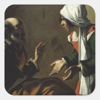La negación de San Pedro Pegatina Cuadrada