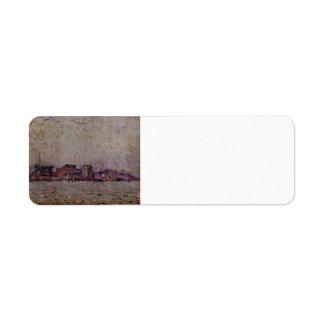 La niebla de la mañana de Theo Rysselberghe- sobre Etiquetas De Remite