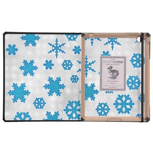 La nieve azul linda del brillo forma escamas en el iPad protector
