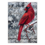 La nieve cardinal forma escamas buenas fiestas tar tarjeta de felicitación