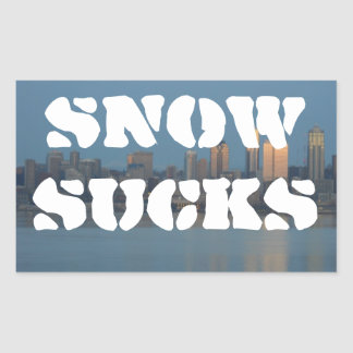 La nieve chupa pegatina rectangular