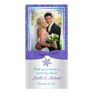 La nieve de plata de la aguamarina púrpura forma tarjeta fotografica personalizada