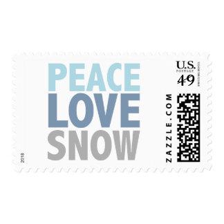 La nieve del amor de la paz junta con te los estampilla