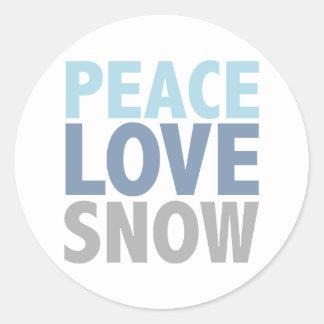 La nieve del amor de la paz junta con te los pegatinas redondas