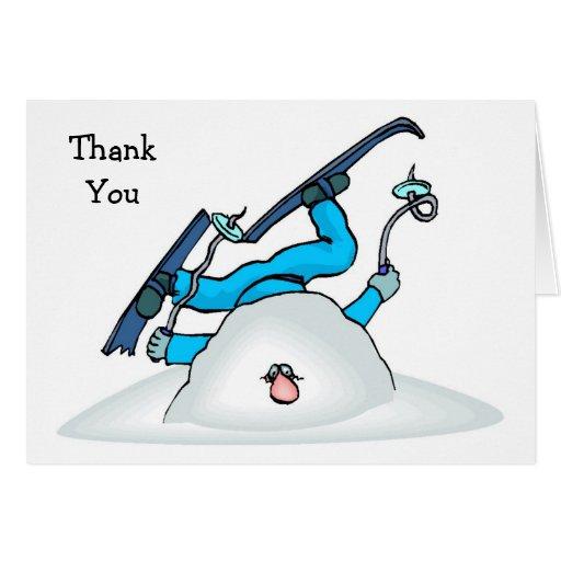 La nieve del invierno del esquí de Skiier le agrad Felicitación