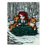 La nieve del invierno Foxes la postal del arte de