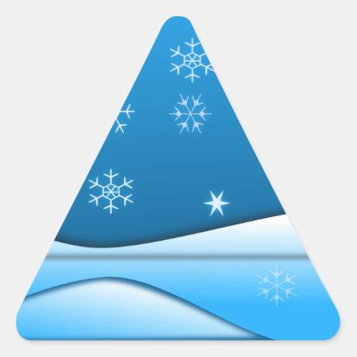 La nieve forma escamas escena pegatina triangular