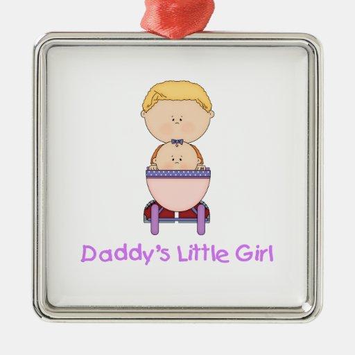 La niña del papá (5) adorno cuadrado plateado