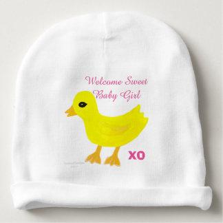 La niña Ducky amarilla PERSONALIZA nombre del Gorrito Para Bebe