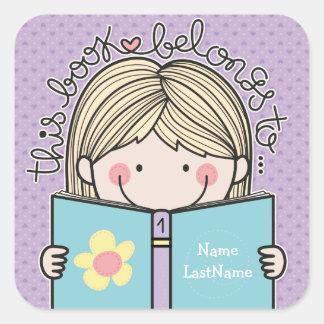 La niña este libro pertenece a los Bookplates Pegatina Cuadrada