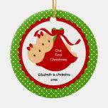La niña hermana el primer ornamento del navidad adornos