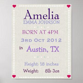 La niña púrpura personalizó la fecha de nacimiento impresiones