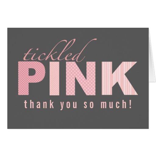 La niña rosada cosquilleada le agradece tarjeta de