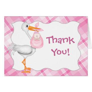 La niña rosada le agradece cardar tarjeta de felicitación