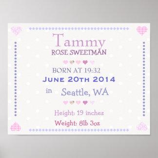 La niña rosada personalizó la fecha de nacimiento  poster