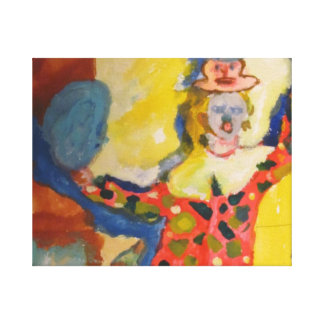 La niña vestida como payaso impresión en lona estirada