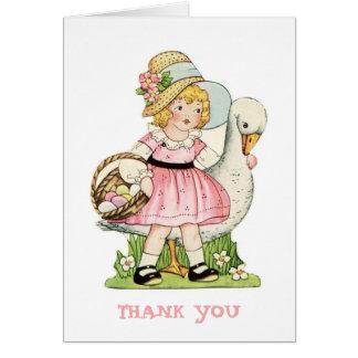 La niña y el ganso le agradecen tarjeta de nota