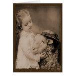 La niña y las ovejas Prim tarjetas de nota de Lil
