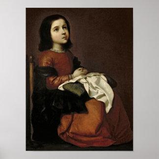 La niñez de la Virgen, c.1660 Póster