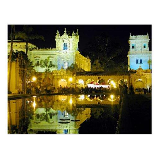 La noche acumula el parque del balboa del agua tarjeta postal