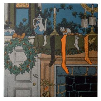 La noche antes del navidad de Denlow 1903 color Tejas Ceramicas