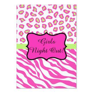"""La noche blanca rosada de los chicas del leopardo invitación 5"""" x 7"""""""