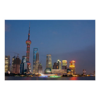 La noche cae en Shangai China Posters