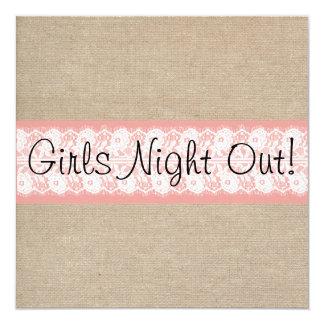 """La noche coralina elegante de los chicas del invitación 5.25"""" x 5.25"""""""