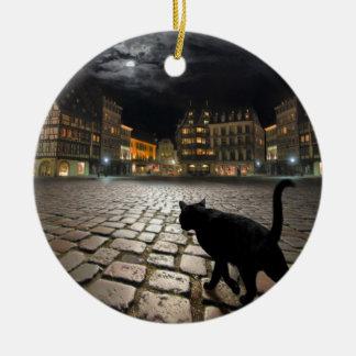 La noche de Estrasburgo Adorno Navideño Redondo De Cerámica