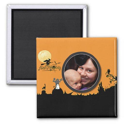 La noche de Halloween en tono naranja añade su fot Imán Cuadrado