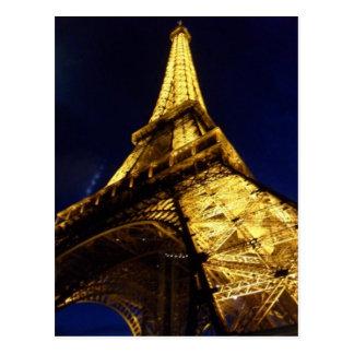 La noche de la torre Eiffel enciende el monumento  Tarjetas Postales