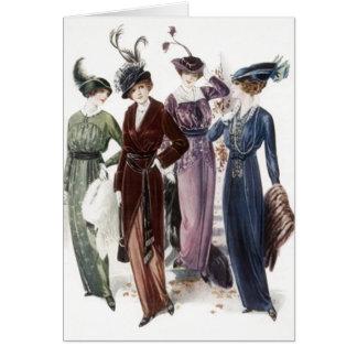 La noche de las mujeres de las señoras del vintage tarjeta pequeña