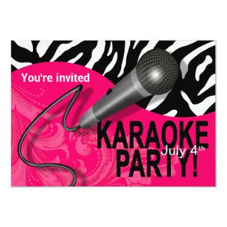 La noche de los chicas del Karaoke de la cebra Invitación 12,7 X 17,8 Cm